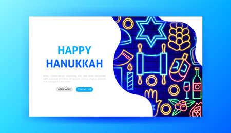 Hanukkah Neon Landing Page