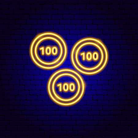 Gold Coin 100 Neon Sign