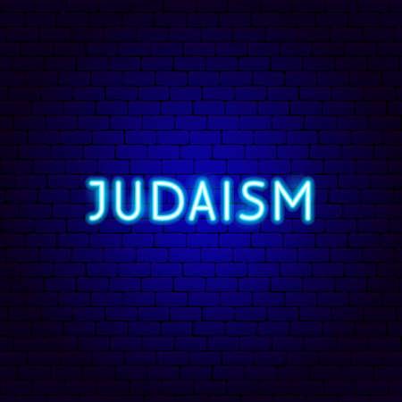 Judaism Neon Text Vettoriali