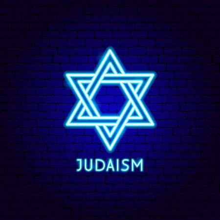 Judaism Neon Label Vettoriali