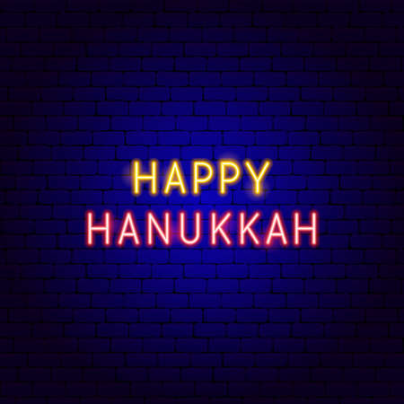 Happy Hanukkah Neon Text