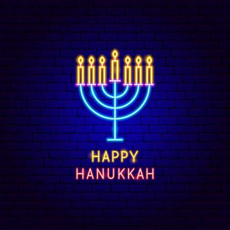 Happy Hanukkah Neon Label