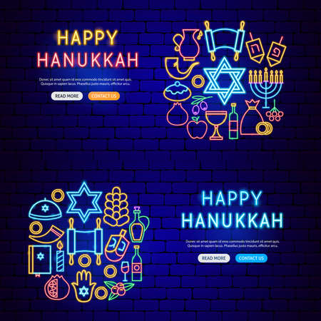 Happy Hanukkah Neon Banners Vettoriali