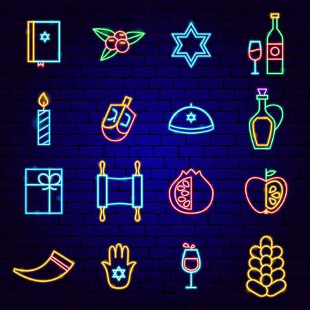 Happy Hanukkah Holiday Neon Icons