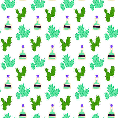Cactus Tequila Seamless Pattern