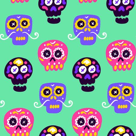 Skull Dia Los Muertos Seamless Pattern Vettoriali