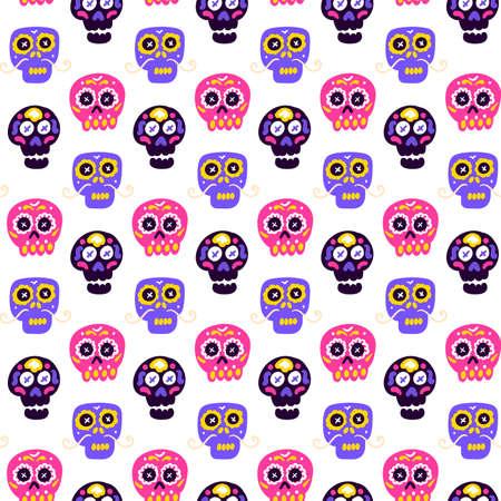 Skull Dia De Los Muertos Seamless Pattern