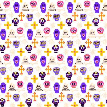 Skull Day Dead Seamless Pattern