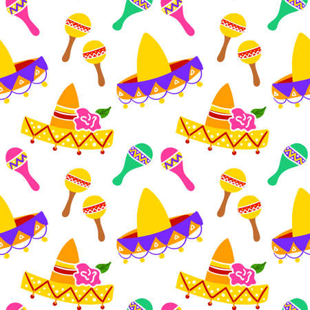 Mexican Sombrero Seamless Pattern Иллюстрация
