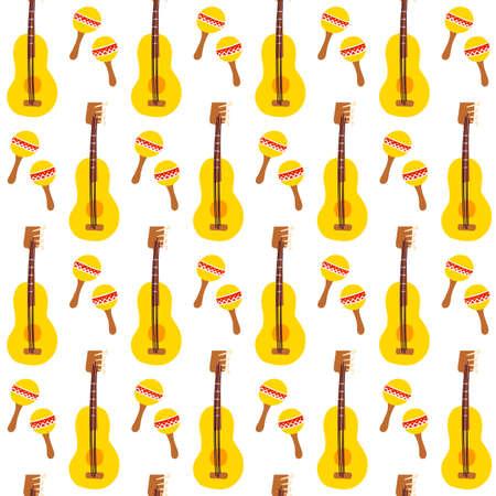 Maracas Guitar Seamless Pattern