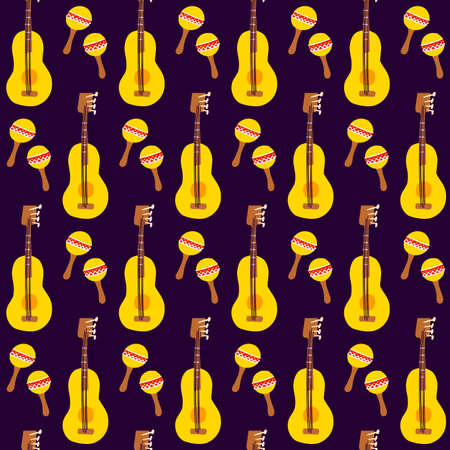 Guitar Maracas Seamless Pattern