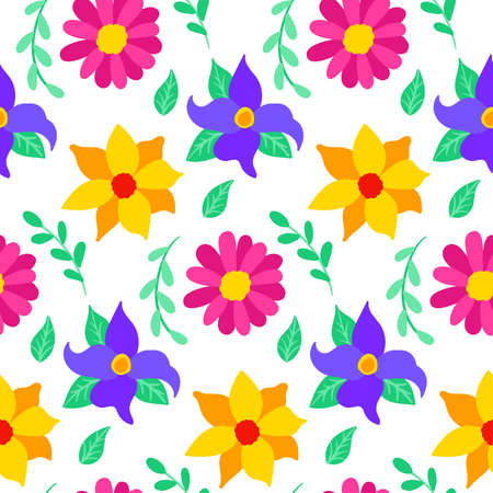 Floral Mexican Seamless Pattern. Vector Illustration of Flower Background. Vettoriali
