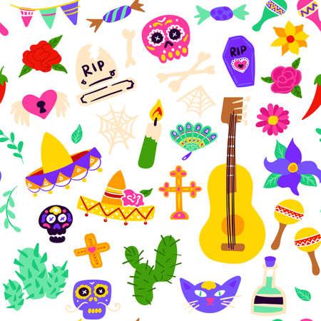Dia Los Muertos Seamless Pattern Vettoriali