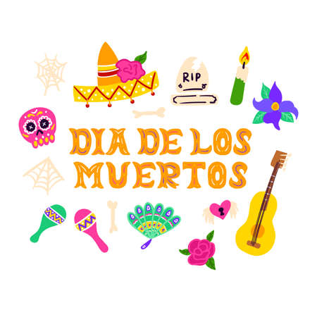 Dia Los Muertos Handwritten Postcard Vettoriali
