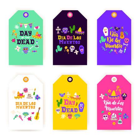 Dia Los Muertos Gift Labels Vettoriali