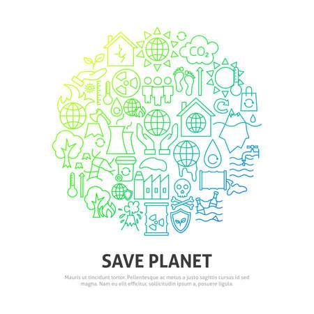 Save Planet Circle Concept Ilustración de vector
