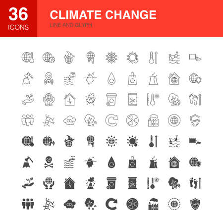 Climate Change Line Web Glyph Icons