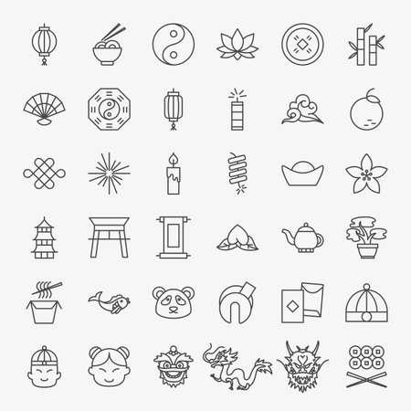 China Line Icons Set