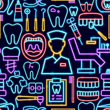 Dental Seamless Neon Pattern