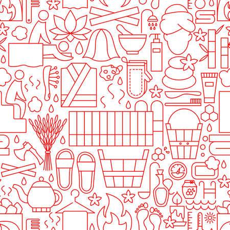 Sauna Line Seamless Pattern Vector Illustratie