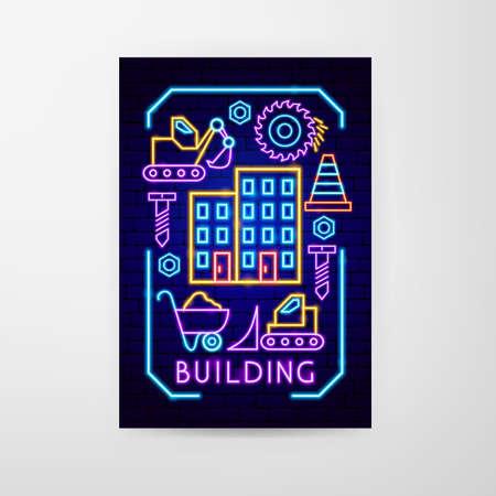 Building Neon Flyer Vecteurs