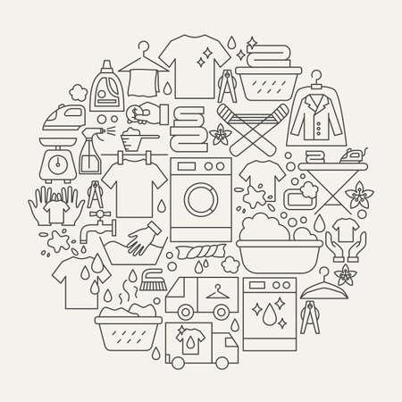 Laundry Line Icons Circle Vektoros illusztráció