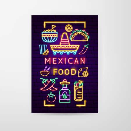 Mexican Food Neon Flyer Vector Illustration