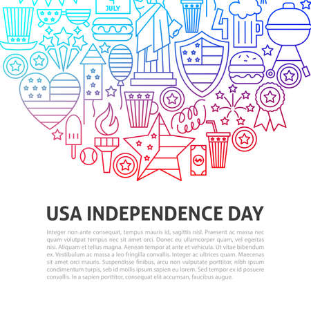USA Independence Day Line Concept