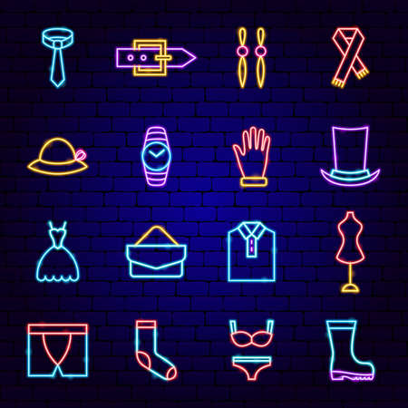 Fashion Clothing Neon Icons
