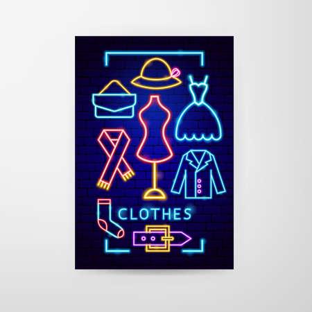 Clothes Neon Flyer Vettoriali