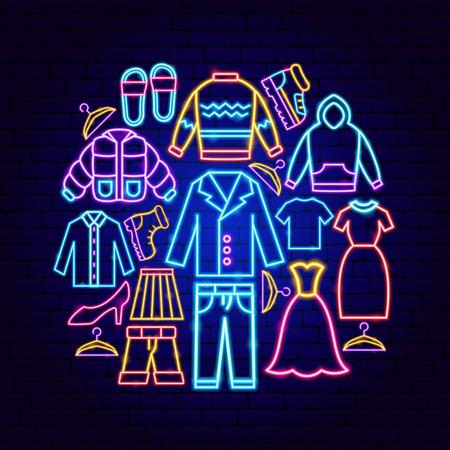 Clothes Neon Concept Vettoriali