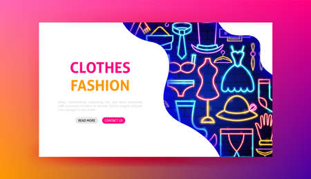Clothes Fashion Neon Landing Page