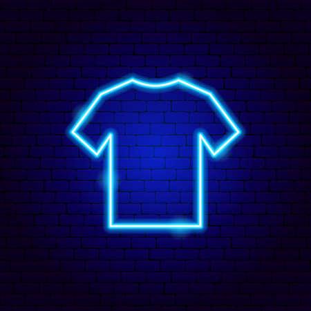 T-Shirt Neon Sign Vettoriali
