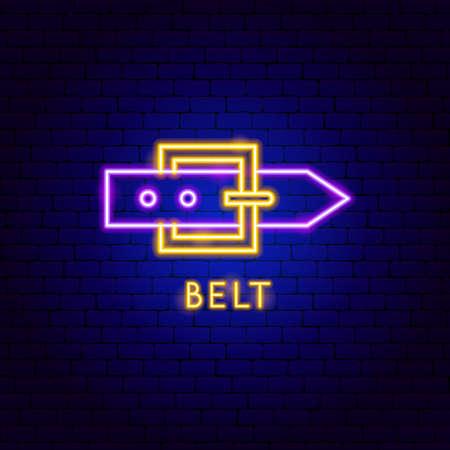 Belt Neon Label Vettoriali