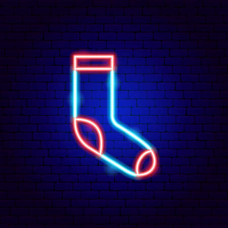 Sock Neon Sign Vettoriali