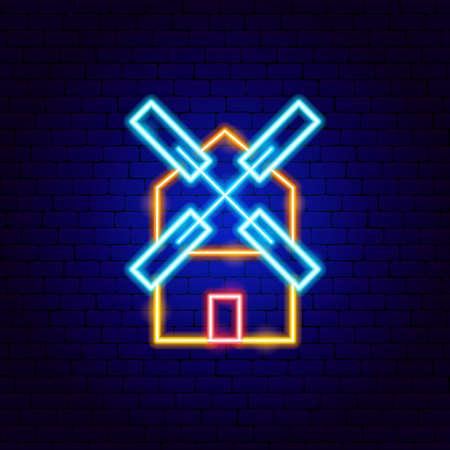 Mill Neon Sign Vettoriali