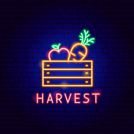 Harvest Neon Label Vettoriali