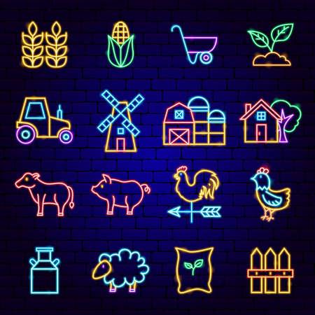 Farming Neon Icons Vettoriali