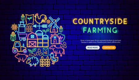 Farming Neon Banner Design
