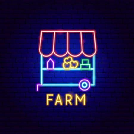 Farm Neon Label Vettoriali