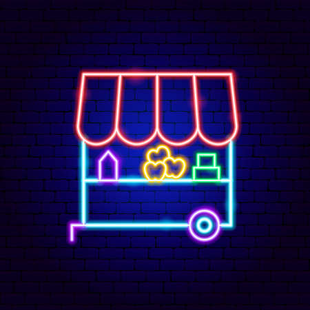 Farm Market Neon Sign Vettoriali
