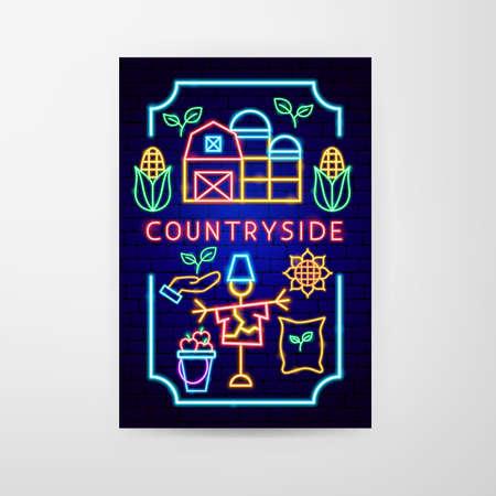 Countryside Neon Flyer Vettoriali