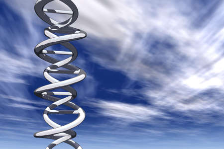 Double helix DNA on a sunny sky background photo