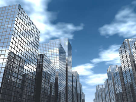 clouds scape: 3d render of a modern city