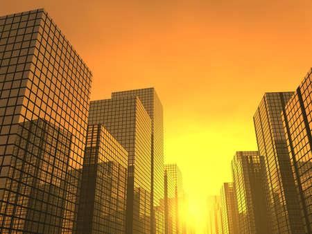 3d render of a sunset in a  modern city
