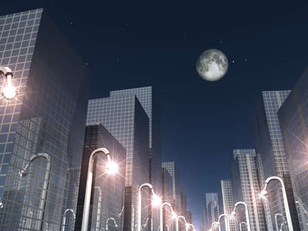 nigth: 3d render of nigth scene in a modern city