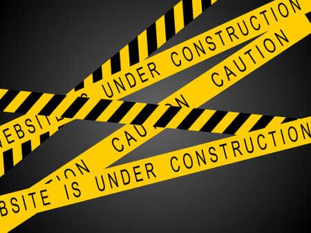caution sign: un segno di cautela giallo e nero che rappresentano il sito � in costruzione
