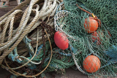 Fishing equipment in a small harbour. photo