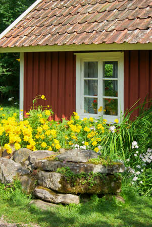 rockwall: Old swedish small wooden cottage and stone wall with flowers. Stock Photo