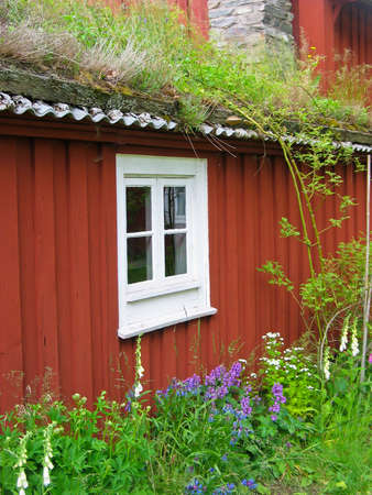 Old swedish red wooden house with grass on the roof. Stock Photo - 9773058